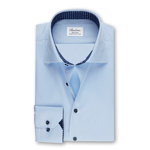 Light Blue Fitted Body Shirt W Contrast