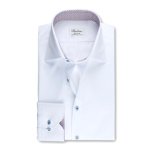 Fitted Body Shirt White Medallion Contrast