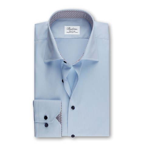 Fitted Body Shirt Light Blue Medallion Contrast