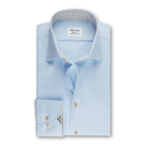 Fitted Body Shirt Contrast Light Blue