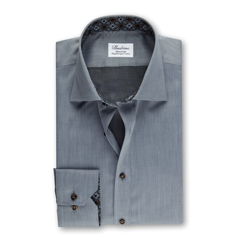 Grey Fitted Body Shirt W Contrast