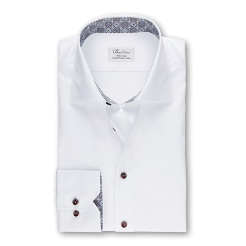 White Fitted Body Shirt With Contrast Details, Extra Long Sleeves