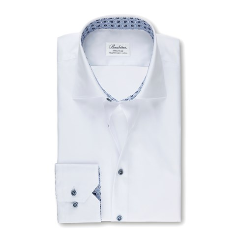 White Fitted Body Shirt With Contrast, Extra Long Sleeves