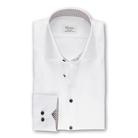 White Fitted Body Shirt With Geometric Contrast, Extra Long Sleeves