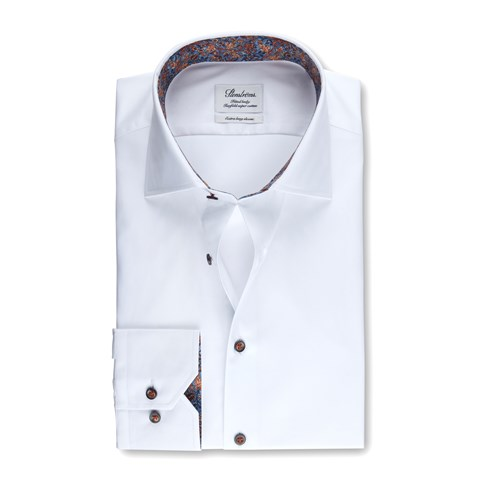 White Fitted Body Shirt W Contrast, Extra Long Sleeves