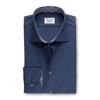 Blue Fitted Body Shirt With Contrast, Extra Long Sleeves