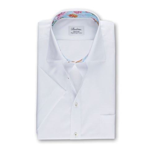 White Fitted Body Shirts With Contrast, Short Sleeves