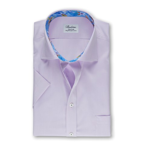 Purple Fitted Body Shirt, Short Sleeves