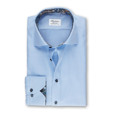 Light Blue Micro Patterned Fitted Body Shirt With Contrast