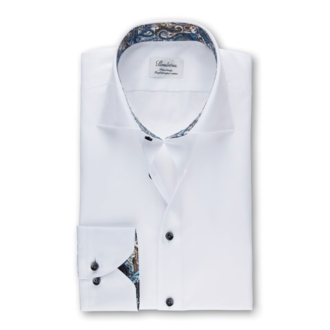 White Fitted Body Shirt With Paisley Contrast