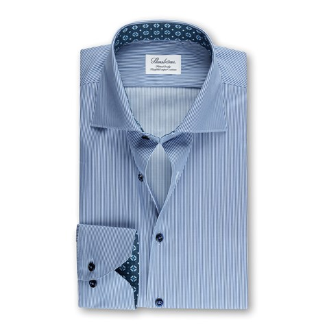 Blue Striped Fitted Body Shirt w. Contrast