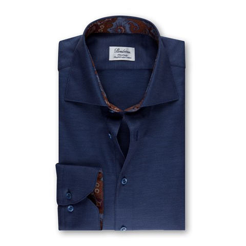 Blue Fitted Body Shirt w. Contrast Details