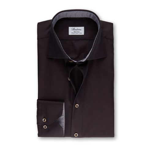Brown Fitted Body Shirt With Contrast