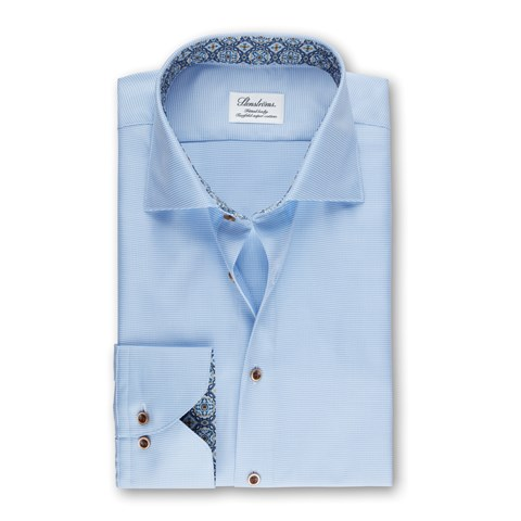 Light Blue Micro Patterned Fitted Body Shirt With Contrast, Extra Long Sleeves