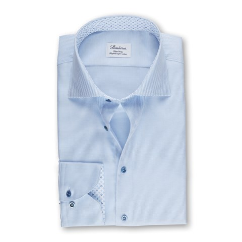 Light Blue Fitted Body Shirt With Contrast, Extra Long Sleeves
