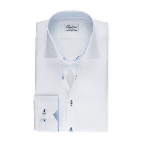 White Fitted Body Shirt With Blue Contrast Details