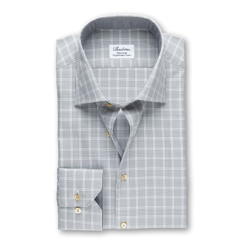 Grey Checked Fitted Body Shirt