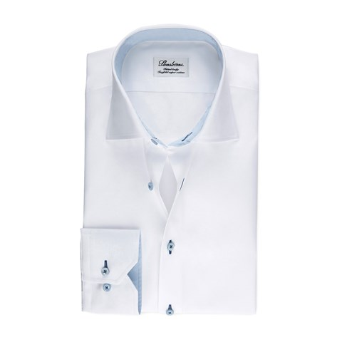 White Fitted Body Shirt With Blue Details, Extra Long Sleeves