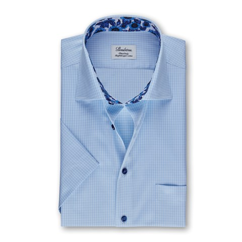 Light Blue Check Fitted Body Shirt, Short Sleeves