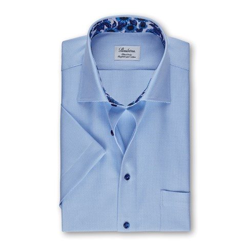 Light Blue Micro Patterned Fitted Body Shirt, Short Sleeves