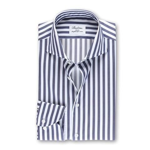 Striped Slimline Shirt Navy