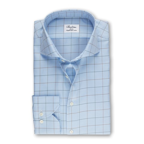Light Blue Window Pane Slimline Shirt