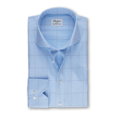 Light Blue Check Slimline Shirt