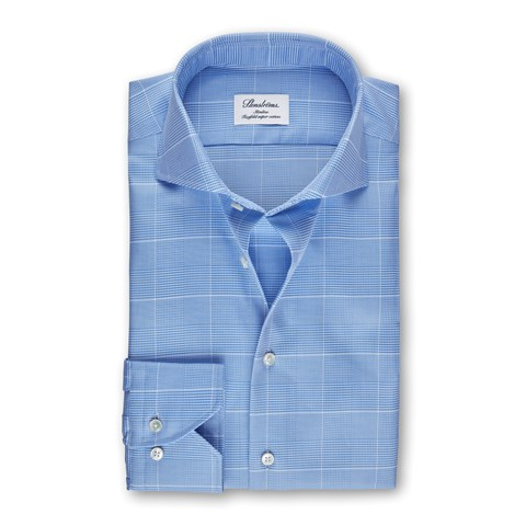 Light Blue Glen Check Slimline Shirt