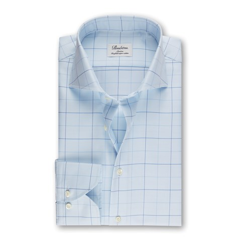 Blue Windowpane Slimline Shirt