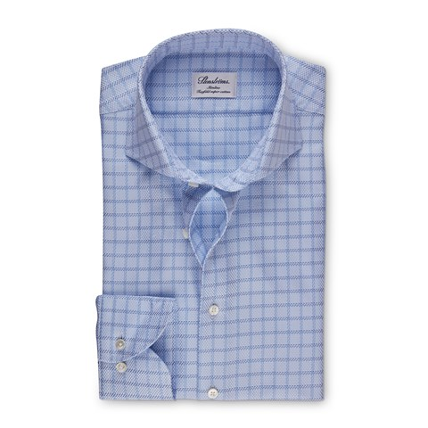 Blue Checked Slimline Shirt, Extra Long Sleeves