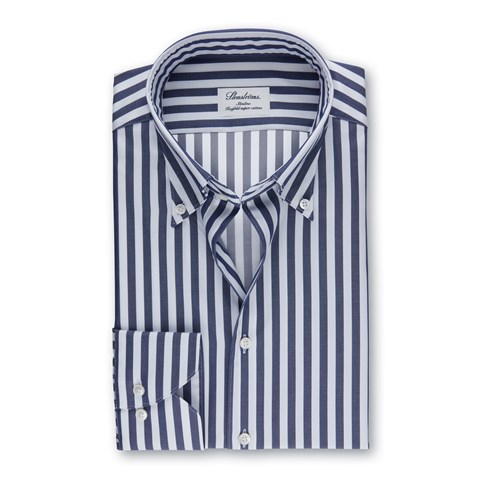 Navy Striped Slimline Shirt