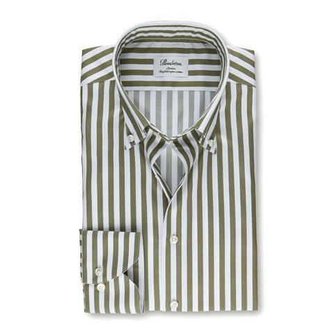 Forest Green Striped Slimline Shirt