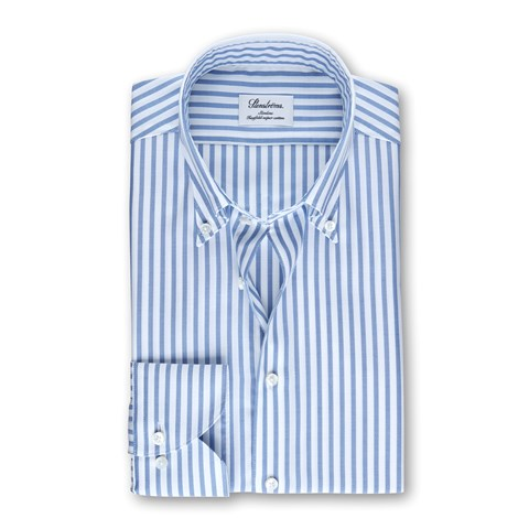 White/Blue Striped Slimline Shirt