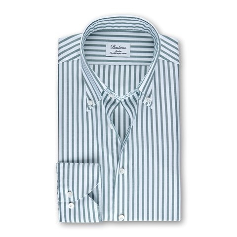 White/Green Striped Slimline Shirt