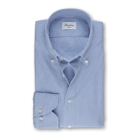 Light Blue Pinstriped Seersucker Slimline Shirt