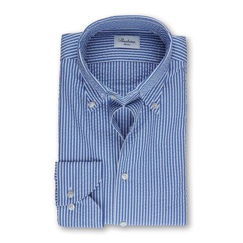 Blue Striped Seersucker Slimline Shirt