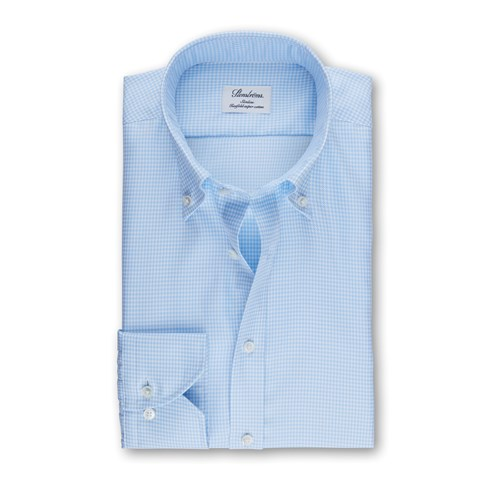 Light Blue Hounds Tooth Slimline Shirt