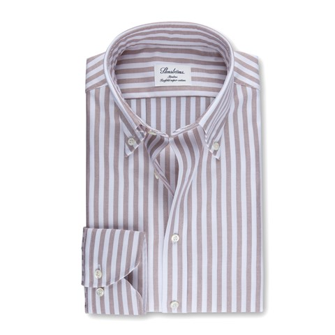 Beige Striped Slimline Oxford Shirt