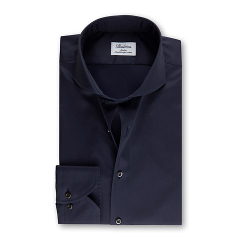 Navy Slimline Shirt In Superior Twill