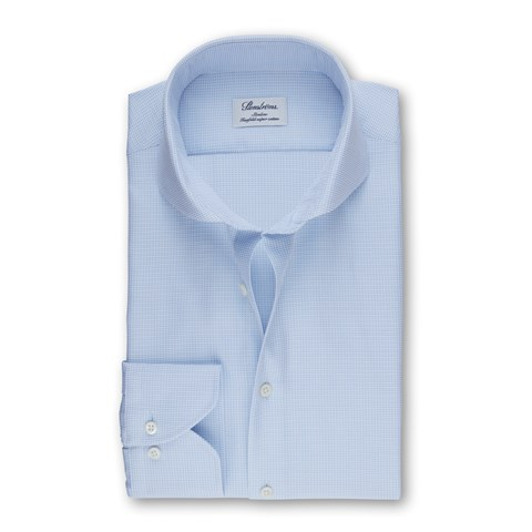 Light Blue Slimline Shirt With Micro Pattern