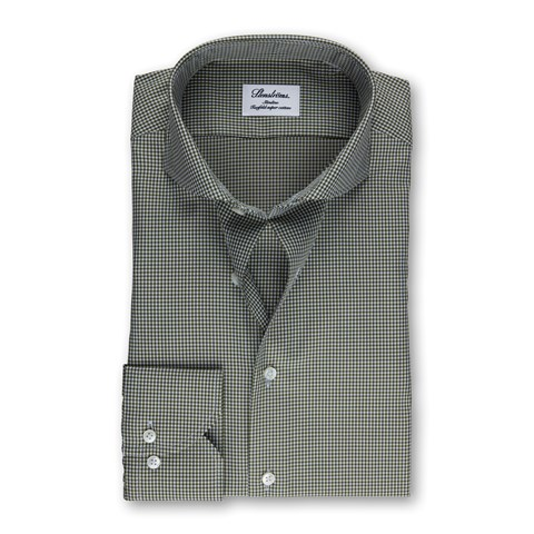 Green Gingham Checked Slimline Shirt