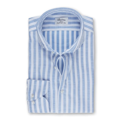 Light Blue Striped Textured Slimline Shirt