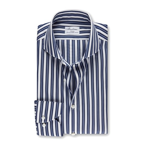 White/Navy Striped Slimline Shirt