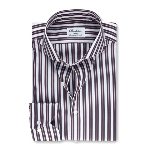 White/Brown Striped Slimline Shirt