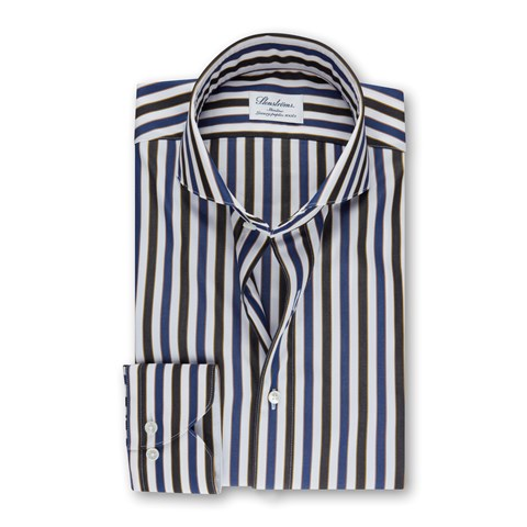 Striped Slimline Shirt in Luxury Poplin