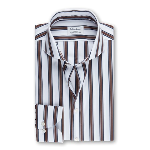 Navy/Brown Striped Slimline Shirt