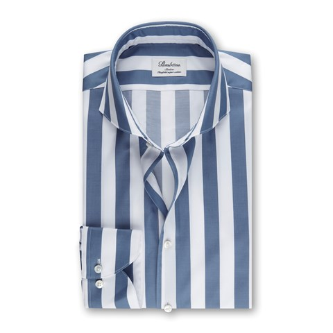 Blue Block Striped Slimline Shirt