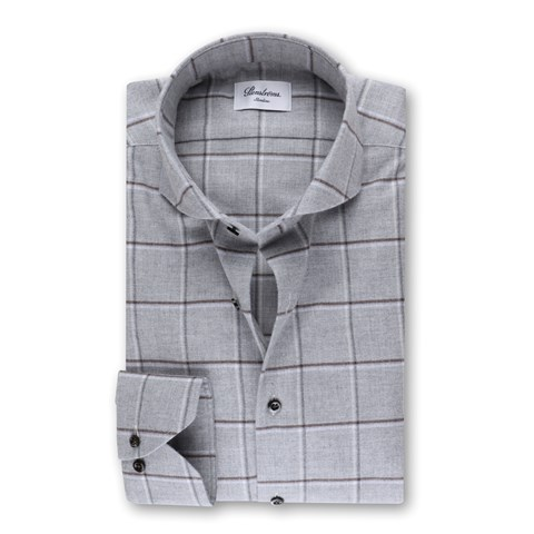 Slimline Flannel Shirt Checked Grey