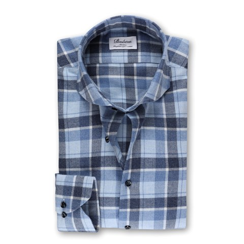 Slimline Flannel Shirt Checked Blue