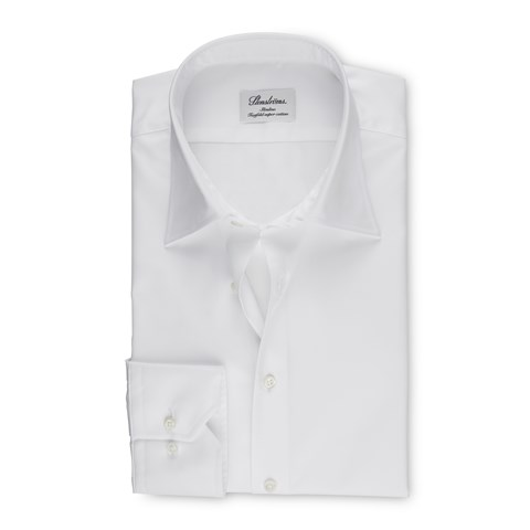 White Slimline Shirt With Kent Collar